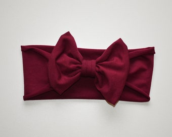 Bamboo Rayon Maroon/Burgundy Bow Band / big bow headband / big bow headwrap / baby bow headband / toddler bow headwrap/ flower girl/Bamboo