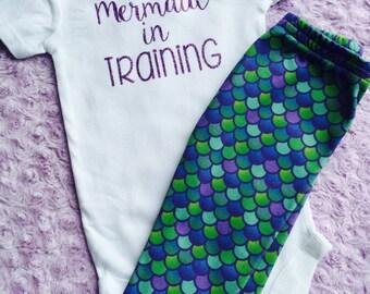 Mermaid in training. Baby girl. Mermaid. Baby mermaid. Little sister. Mermaid baby. Mermaid leggings.
