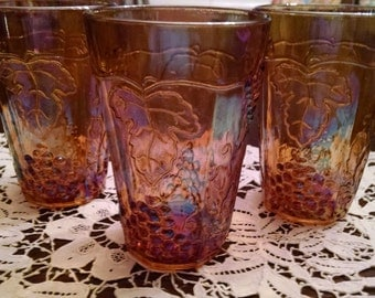 3 carnival iridescent grape  marigold  6 oz. glasses