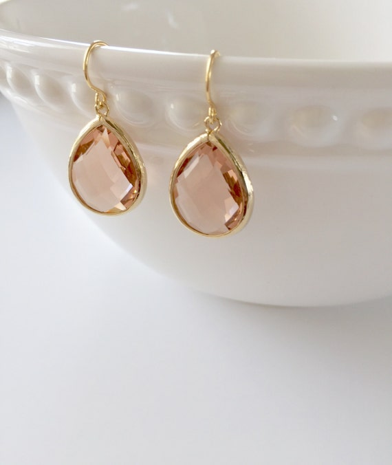 Peach Champagne Crystal Teardrop Earrings