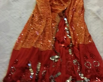 Lot of 3 Long Full Dance Skirts for Gypsy, American Tribal, Cabaret All Red Tones