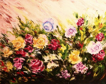 Painting, landscape painting, flowers painting. Original painting flowers. Original oil painting palette knife. Roses painting