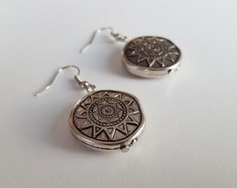 Silver Boho Earrings, Silver Mandala Drop Dangles, Tribal, Bohemian