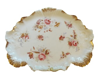 Antique Porcelain Vanity Tray Pink Rose Gold Trim Scalloped Dresser Tray Vintage 1910