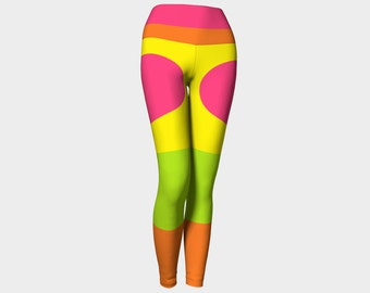 YOGA  Leggings  Digital Art/Orange/Pink/Lime/Yellow/Yoga Pants/Womens/Yoga/Exercise/Fashion/Wearable Art/Clothing/Clothes/Ladies XS S M L XL