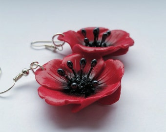 Poppy earrings - Couleur-lavande polymer clay jewelry