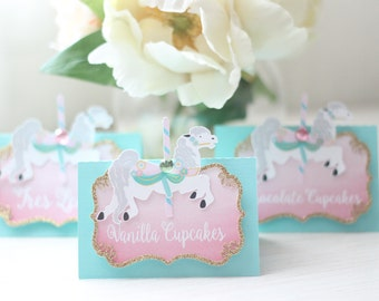 Carousel Tent Card Labels
