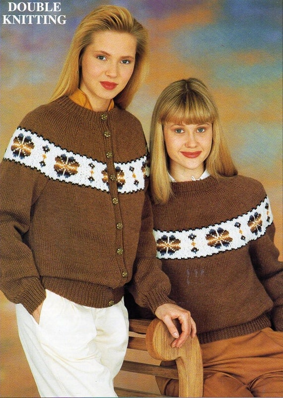 womens fair isle sweater cardigan knitting pattern pdf ladies