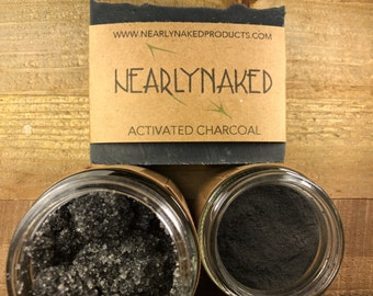 Activated Charcoal Set - Activated Charcoal Soap - Activated Charcoal Face Mask - Activated Charcoal Face and Body Scrub