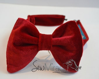 1970s inspired bow tie, Men's bow tie, Red Velvet bow tie, Gift for men, Wedding, Red bow tie, Drop bow tie