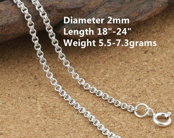 "Sterling Silver Garibaldi Chain, Sterling Garibaldi Chain, 925 Silver Garibaldi Chain Necklace 2mm 18 20 22 24"" Inches - E400"