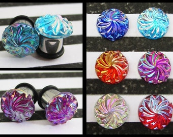 Ice Cream Swirl top on a stainless steel EAR PLUGS earrings pick gauges and color 8g, 6g, 4g, 2g, 0g, 00g aka 3mm, 4mm, 5mm, 6mm, 8mm, 10mm