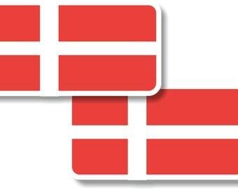 Vinyl sticker/decal Small 70mm Denmark flags - pair