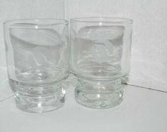 Vintage Set of 2 Clear Glass Shot Glasses