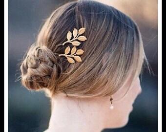 60% OFF Gold Leaf Hair Pin Pair