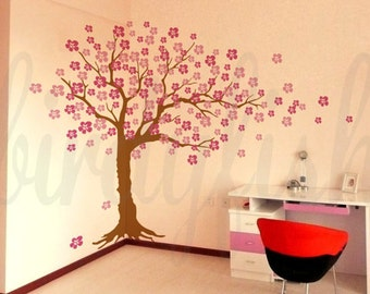 Cherry Floral Tree Wall Decals - Cherry Blossom Tree Decal, Nursery Wall Sticker, Wall Decor, Home Decor - LARGE Murals