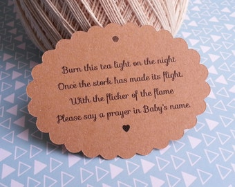 25 Baby Shower Favor Tags, Candle Favor Tags, Tea Light Favor Tags, Burn this Tea Light Tags, Baby Shower Tags