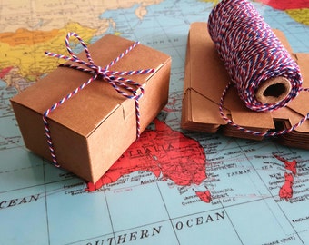 10 brown KRAFT boxes 9x6x4cm includes twine