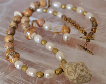 Boho classic bead set Gaea focal with pearls - DayLilyStudio