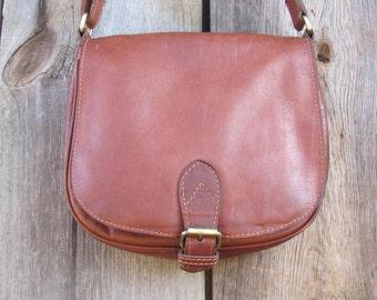 Vintage Leather Crossbody Bag; Jones Bootmaker Leather Shoulder Bag; Chestnut Brown Leather Purse; Vintage Handbag; Leather Crossbody Bag