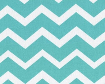 Keepsake Calico Turquoise/White Chevron Fabric