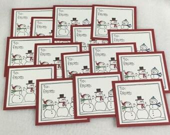 Set of 15 Christmas Gift Tags, Stampin Up Gift Tags, Christmas Tags, Snowman Gift Tags, Christmas, Stampin Up Christmas