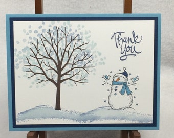 Christmas Snowman Handmade Stampin' Up! Thank You Card