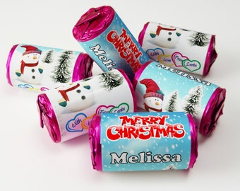 Love Heart Sweets,Christmas, Xmas, Favours ( Select from 10 to 100 Rolls) - V3
