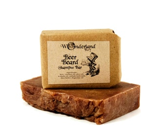 Beer Beard Shampoo Bar, Beard Soap, Beard Wash, Beard Grooming Product, Gift For Him, Beard Gift, Alice in Wonderland
