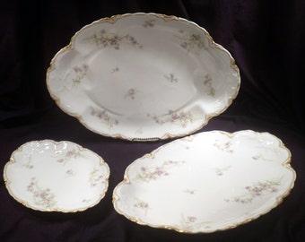 Set 3 Haviland Limoges Large Porcelain Serving Platters, James Green & Nephew