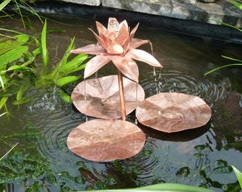 Copper lotus flower fountain sculpture for pond or water feature