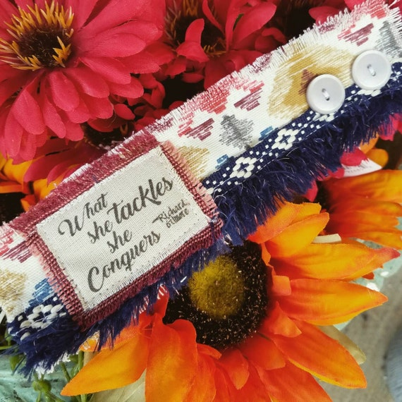"""Richardson Gilmore- """"What she tackles, she conquers"""" - Vintage Fabric Fall Cuffs, fabric cuffs, Gilmore Girls"""