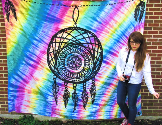 dream catcher tie dye tapestry by twistertrails on etsy. Black Bedroom Furniture Sets. Home Design Ideas