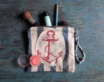 Nautical Anchor Zipped Pouch Fabric Clutch Red White Blue Muted X Small