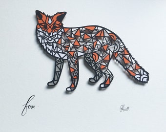 Geometric Fox Papercut