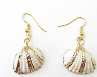Gold Ivory White Real Sea Shell Earrings Drop Beach Boho Mermaid Hook Vtg 376