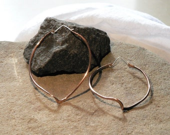 Large Hoop Earrings - Copper and Sterling Silver