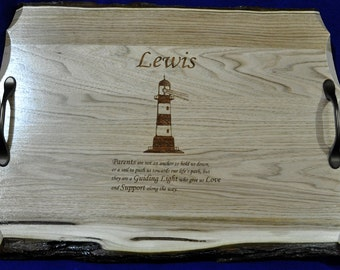 Wedding Gift To Parents ~ Parents Gift ~ Lighthouse Gift ~ Engraved Serving Tray ~ Parents Of The Bride Gift ~ Parents Of The Groom Gift ~