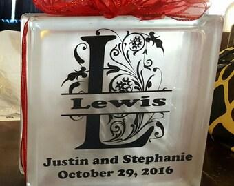 Wedding Glass Block-Anniversary-Family