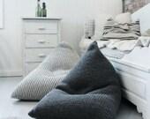 Chunky merino wool grey Knitted Kids / Adult / XL bean bag / Kids' bean bag chair / Wool Nursery chair / Grey Floor pillow