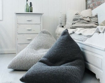 Chunky merino wool grey Knitted Kids / Adult  bean bag / Kids' bean bag chair / Wool Nursery chair / Grey Floor pillow