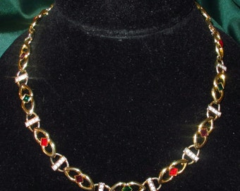 "Vintage multi-colored Stone gold tone #necklace 18"" #jewelry #retro #fashion chic choker Statement Jewelry"