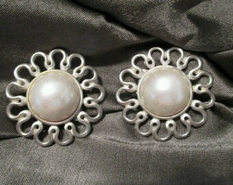 """Vintage Anne Klein Earrings clip faux pearl silver tone flower 1 1/2"""" jewelry signed AK pearl earrings fashion earrings jewelry designer"""