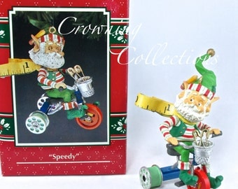 Enesco Speedy Elf Ornament Wee Tree Trimmers North Pole Village Sandra Zimnicki 10th Treasury of Christmas Series Sewing Thimble Vintage