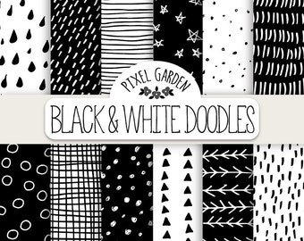 Hand Drawn Doodle Digital Paper. Black & White Geometric Doodle Patterns. Monochrome Chevron, Polka Dot Background. Minimalist Digital Paper