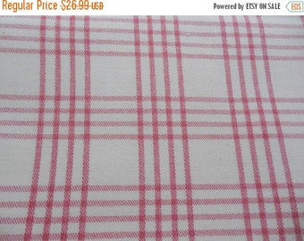 "ON SALE Vintage Pink Plaid Brushed Cotton Twill Decorator Upholstery Fabric 48"" x 108"""