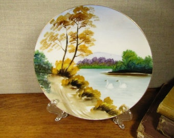 Decorative Porcelain Plate - Hand Painted - Golden Leaves - Swans on Lake - Made in Occupied Japan