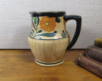Pottery Creamer - Tan - Floral - Black Accent - Made in Japan
