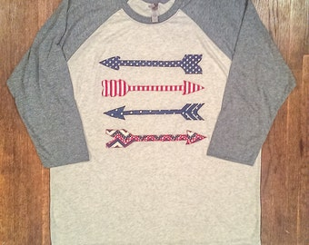 Arrows Raglan Tee. Red, White, and Blue Tee. Grey and Heather White Baseball Tee with Arrows Applique. 4th of July Raglan Tee