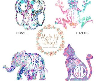 Lilly Pulitzer Inspired Animal Monogram Decal